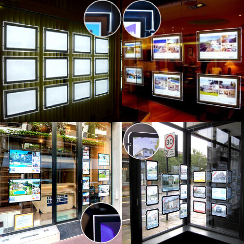 Sharp corner and Round corner for A4 A3 Hanging Acrylic Real Estate Agent Led Holder Illuminated Poster Frame