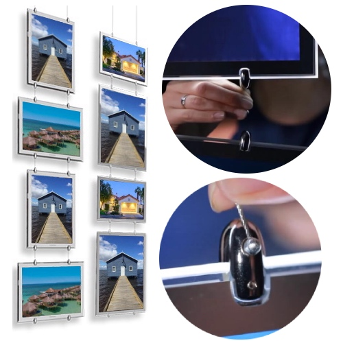 Teartop Hang Real Estate window display ideas cable acrylic window signage door signs led frame