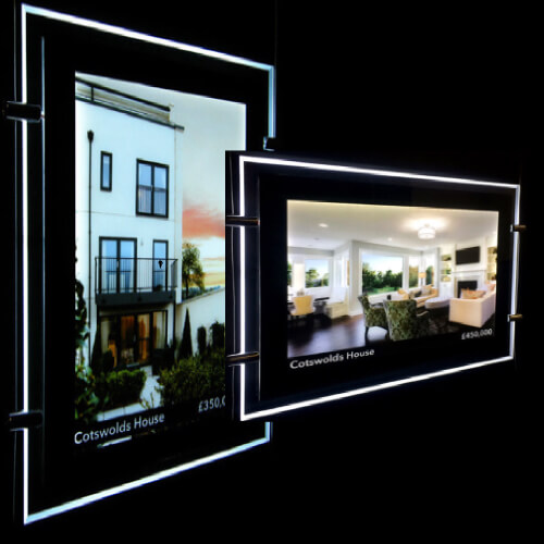Landscape A4 A3 Hanging Acrylic Real Estate Agent Led Holder Illuminated Poster Frame Window Led Sign Display in Portrait