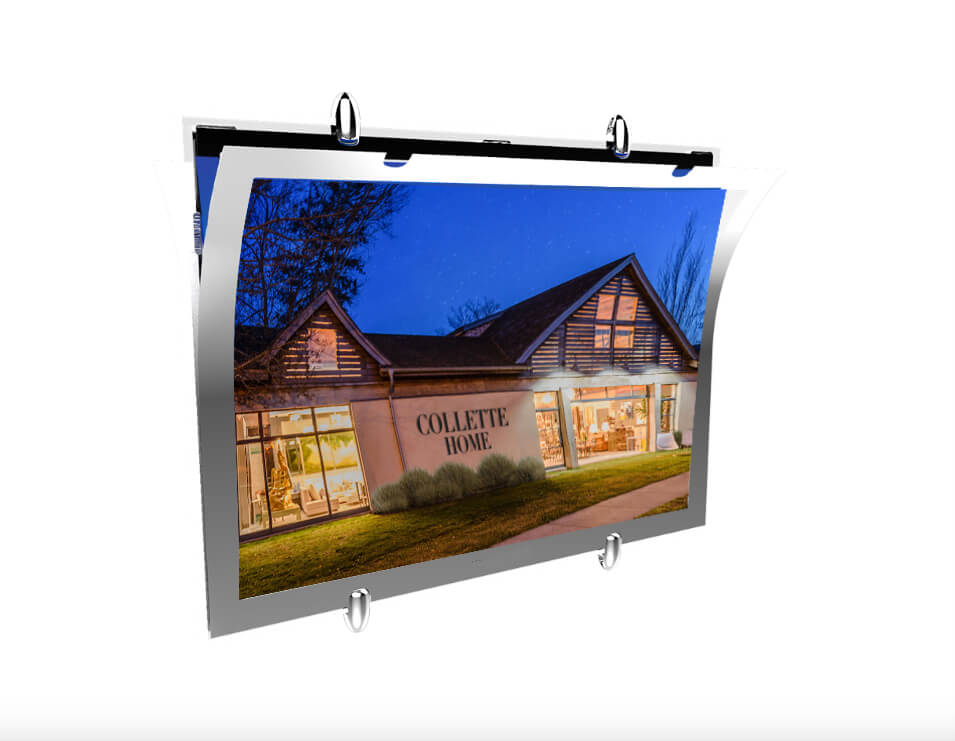 Real Estate window display ideas cable acrylic window signage door signs led frame