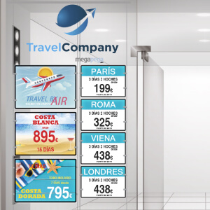 Travel-agency-hanging-led-holders-acrylic-led-light-pockets-window-led-sign-display