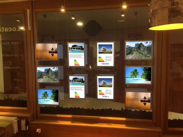 a3 a4 New Estate agent led edgelit signs window display acrylic led poster frame