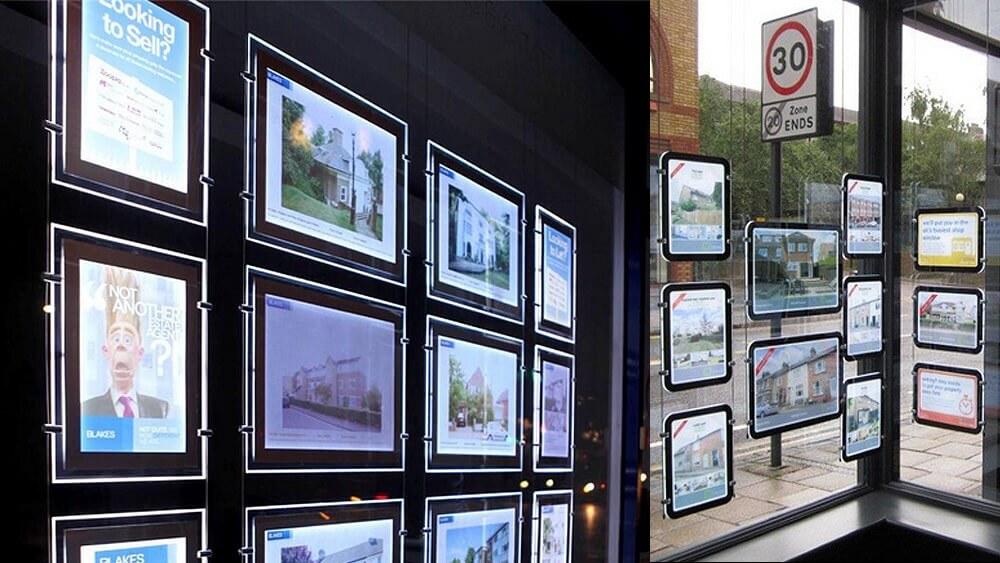 Real estate agent acrylic led light holder led window display