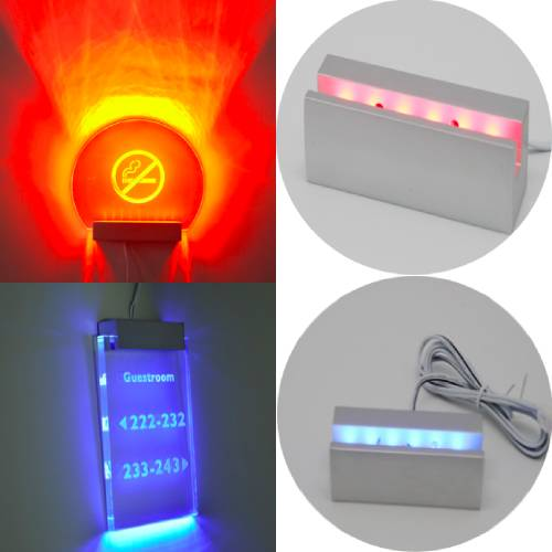 Led Sign Illuminated Clamps Red Blue Color
