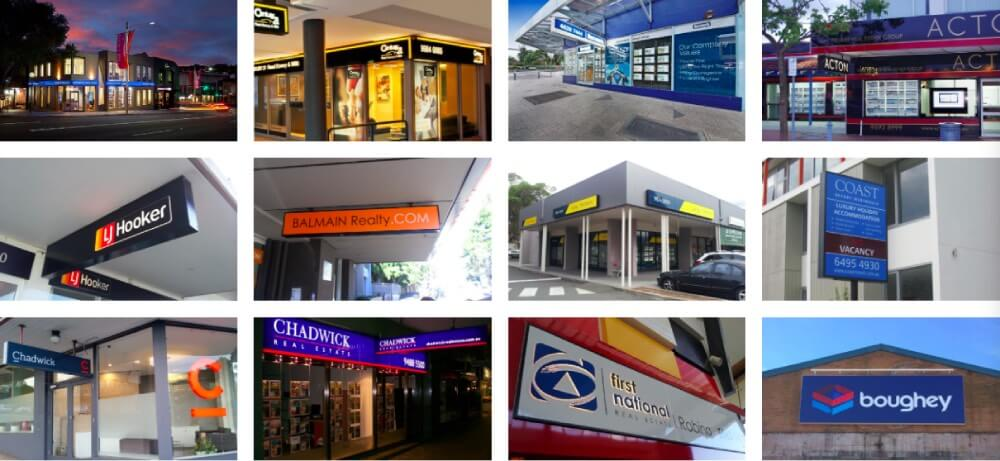 real estate outdoor led light box and banners