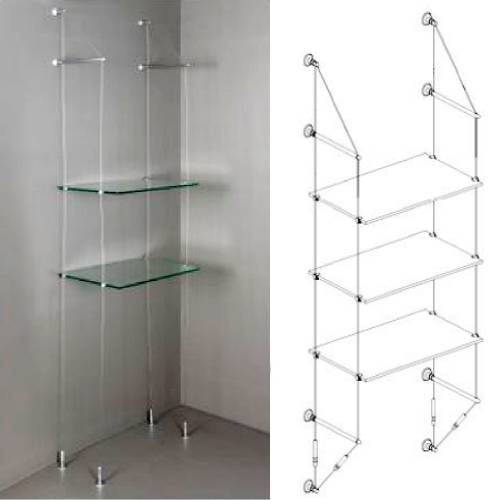 wall to floor glass shelf
