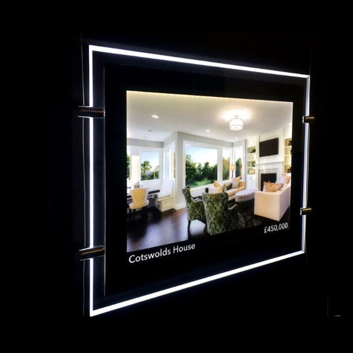 Acrylic Estate Agent Led Holder Illuminated Poster Frame Window Led Display