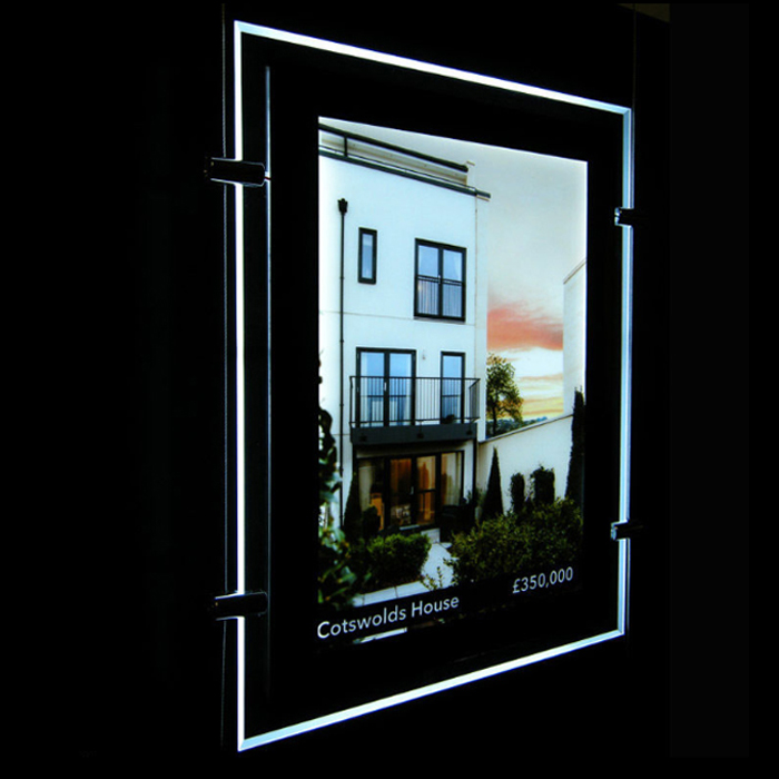 A4 A3 Hanging Cable Acrylic Estate Agent Led Holder Illuminated Poster Frame Window Led Sign Display