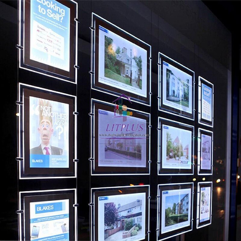 A4 A3 Real Estate Led Light Pocket Window Backlit Led Display Acrylic Window Listing Signs