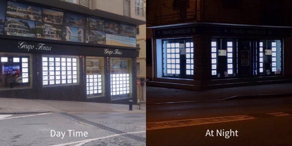 estate agent window display lighting effect in daytime and night