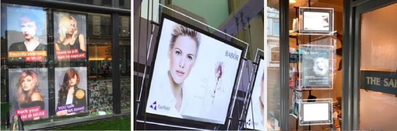 hair salon led window display