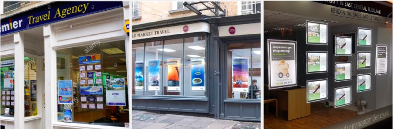 travel agent led window display