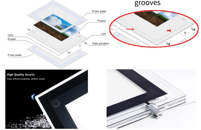 LED window display frame boarder polishing
