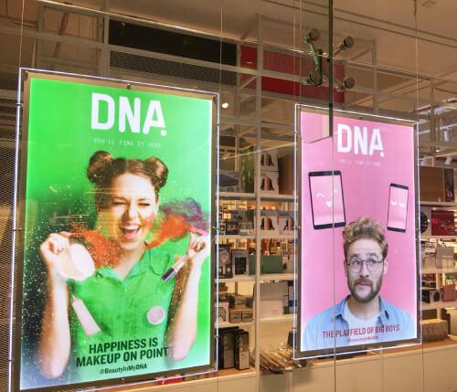 retail shops backlit window displays
