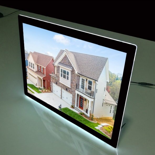Desktop backlit window display frame